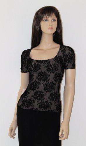 H&M Boothalsshirt zwart-bruin Viscose