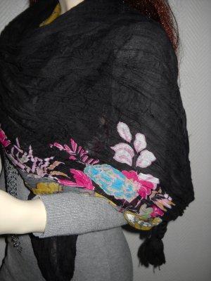 Blogger XXL Schal Knotenenden Blumen Blüten Flower Power schwarz bunte