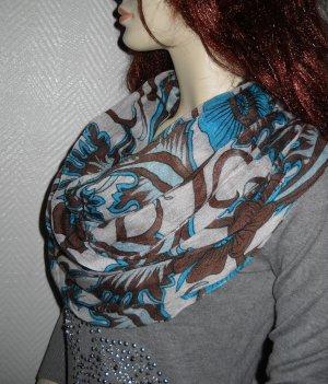 Blogger XXL Schal Tuch Loop Blumen Blüten Fransenkante h m blau creme braun
