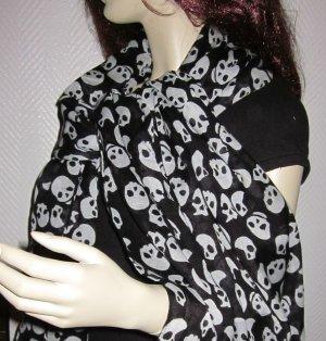 Blogger XXL Tuch Schal Halstuch Stola H&M schwarz weiß Totenkopf 70 x 205 cm NEU