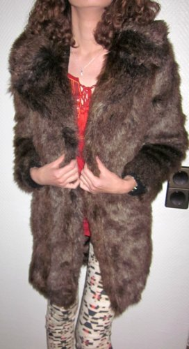 Blogger ZARA Fellmantel Wintermantel Mantel Winter Kurzmantel Longjacke Felljacke Pelzjacke Jacke Fake Fur braun wunderschön! dickes Fell 32 36 38 XS S M 36 38 wie NEU