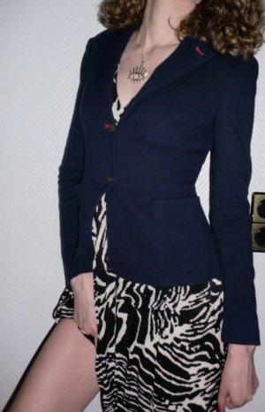 Blogger ZARA Woman Blazer Jacke dunkelblau figur betont Einreiher klassischer Kragen Revers Kassische Form rote Applikationen 32 34 XXS XS