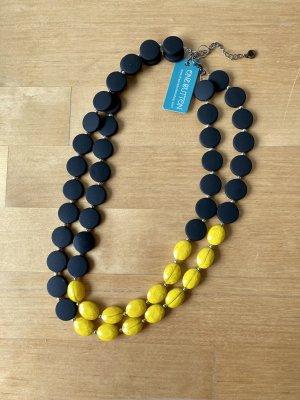 One Button Collier incrusté de pierres noir-jaune fluo