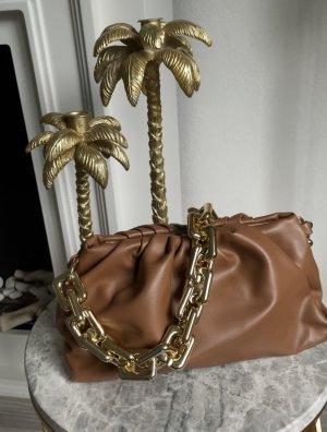 Bloggerstyle Tasche pouch clutch goldene Kette Zara pochette braun sac Vegan Leder Schultertasche