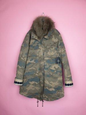 Blonde No. 8 Parka BRAS CAMO 515 Wintermantel Echtfell Neu Gr. 42/ XL Khaki Camouflage