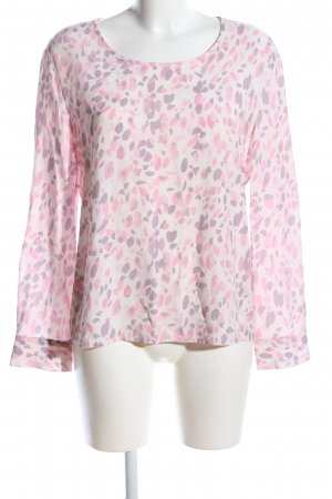 Bloom Langarm-Bluse wollweiß-pink abstraktes Muster Casual-Look