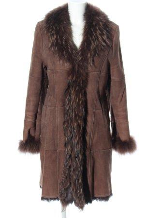 Bloom Manteau de fourrure brun style décontracté