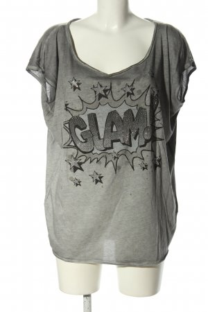 Bloom T-shirt grigio chiaro Stampa a tema effetto bagnato