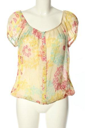 Bloom Blusa trasparente giallo pallido-rosa motivo astratto stile casual