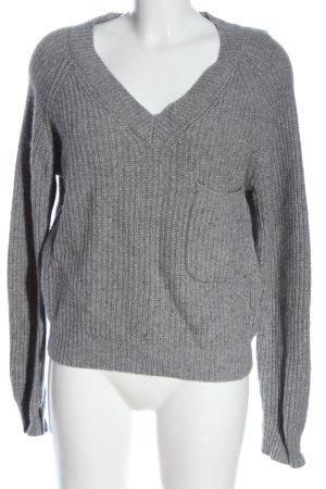 Bloom Maglione con scollo a V grigio chiaro puntinato stile casual