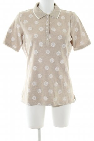 Bloomings Polo-Shirt creme-weiß Blumenmuster Casual-Look