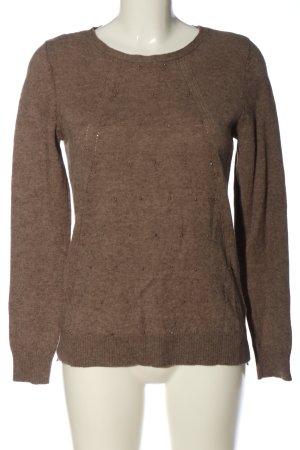 Bloomings Kraagloze sweater bruin gestippeld casual uitstraling