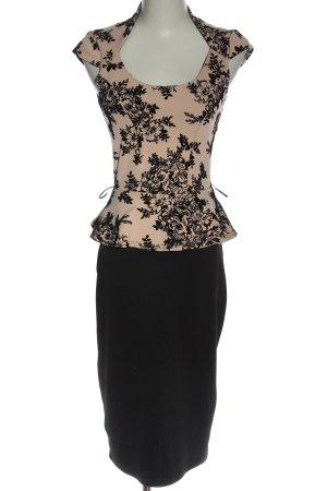 Bloose Kokerjurk zwart-nude bloemenprint elegant
