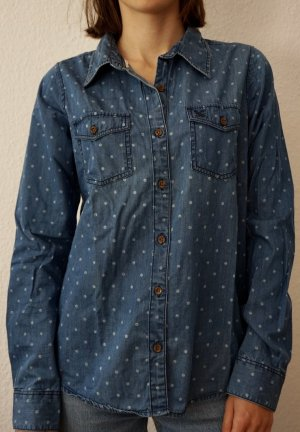 Anti Blue Denim Blouse steel blue cotton