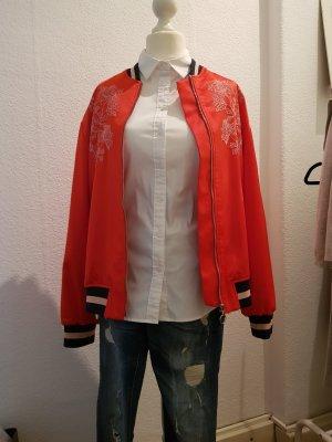 Blouson Jacke rot, blau von H&M mit Stickerei