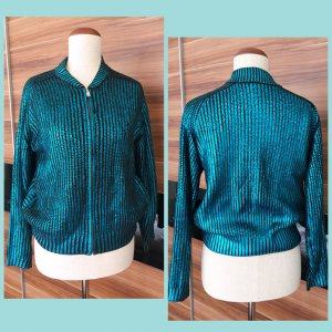 Blouson Kurz Jacke 80is Look Strickblouson Metallic Blau Statement Lässig 36 H&M