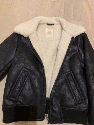 Esprit Blouson noir-blanc cassé faux cuir
