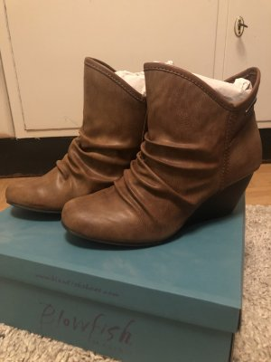 Blowfish Wedge Booties cognac-coloured imitation leather