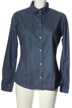 blue collar Shirt met lange mouwen blauw-wit volledige print zakelijke stijl