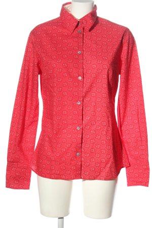 blue collar Shirt met lange mouwen rood-wit volledige print casual uitstraling