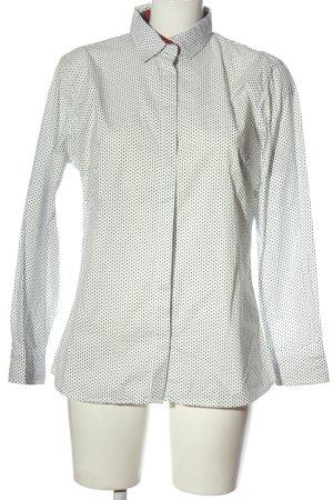 blue collar Shirt met lange mouwen wolwit-zwart gestippeld patroon