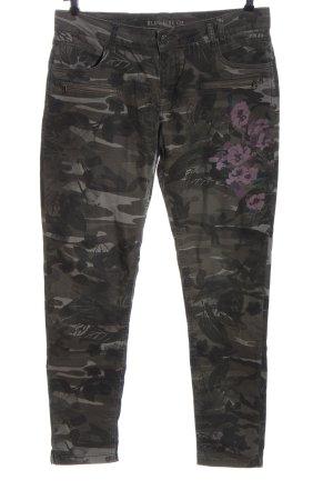 Blue Fire CO Tube jeans khaki-lila bloemenprint casual uitstraling