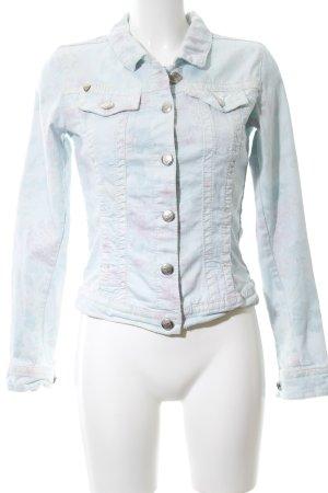 Blue Fire Jeansjacke blau-pink Allover-Druck Casual-Look