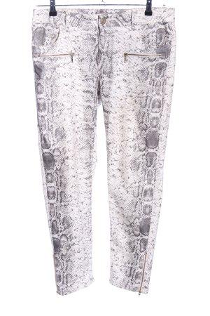 Blue Fire Drainpipe Trousers light grey animal pattern casual look
