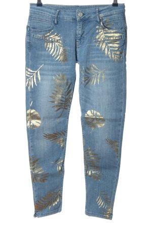 Blue Fire Slim Jeans blau-goldfarben Allover-Druck Casual-Look