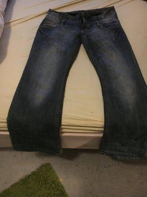 Pantalon pattes d'éléphant bleu acier