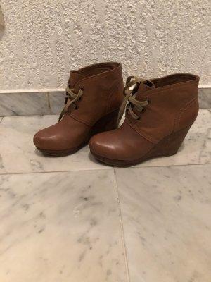 Botas de cuña marrón Cuero