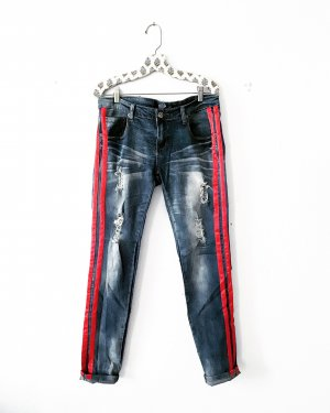 blue jeans • denim • streifen • blau • rot • casual