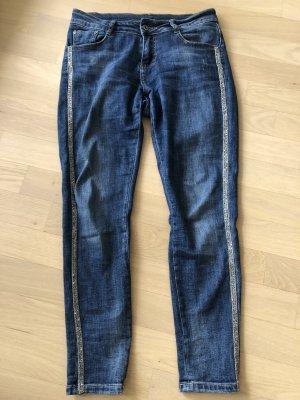 1.2.3 Paris Jeans slim argenté-bleu coton