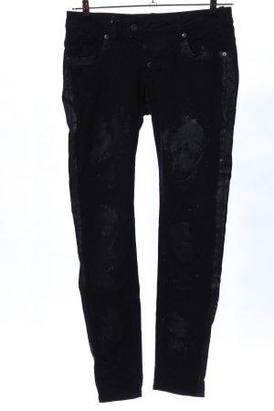 Blue Monkey Pantalone a vita bassa nero stile casual