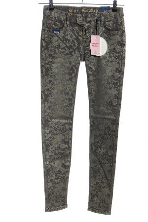 Blue Monkey Jeans vita bassa grigio chiaro-nero motivo astratto stile casual
