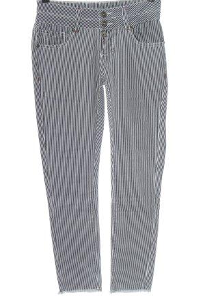 Blue Monkey Drainpipe Trousers black-white striped pattern casual look