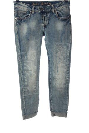 Blue Monkey Jeans a sigaretta blu motivo grafico stile da moda di strada
