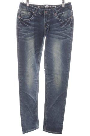 Blue Monkey Slim Jeans graublau Used-Optik