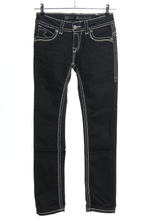 Blue Monkey Jeans coupe-droite noir-blanc style décontracté