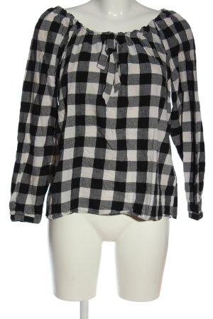 Blue Motion Carmen blouse zwart-wit geruite print casual uitstraling