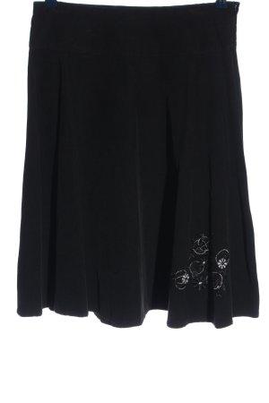 Blue Motion Rozkloszowana spódnica czarny Wzór w kwiaty Styl klasyczny