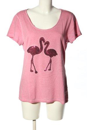 Blue Motion Kurzarm-Bluse pink Motivdruck Casual-Look