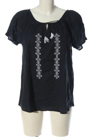 Blue Motion Kurzarm-Bluse schwarz-weiß grafisches Muster Casual-Look