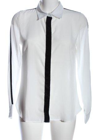 Blue Motion Koszula z długim rękawem biały-czarny W stylu biznesowym