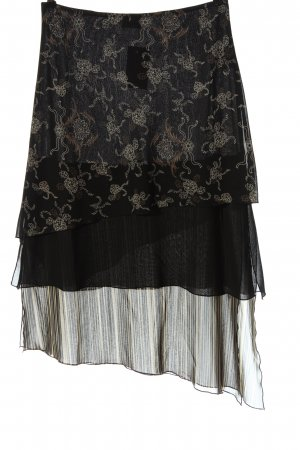 Blue Motion Broomstick Skirt black-natural white abstract pattern elegant