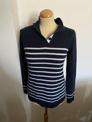 Blue Motion Sweter z dzianiny biały-ciemnoniebieski Bawełna