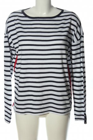 Blue Motion Crewneck Sweater white-black striped pattern casual look