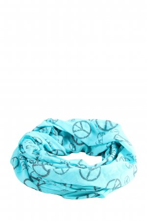 Blue Motion Tube Scarf turquoise themed print casual look
