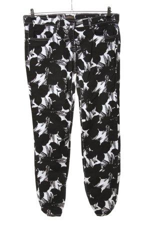 Blue Motion Pantalon en jersey noir-blanc motif de fleur style décontracté