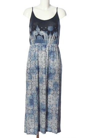 Blue Motion Robe à bretelles bleu-blanc motif abstrait style décontracté